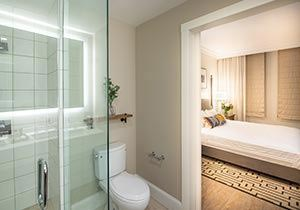 E Hotel Room and Bathroom